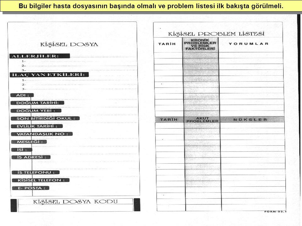 Bu bilgiler hasta dosyasının başında olmalı ve problem listesi ilk bakışta görülmeli.