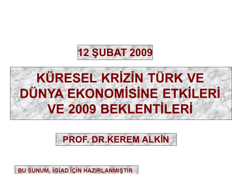 KÜRESEL KRİZİN TÜRK VE DÜNYA EKONOMİSİNE ETKİLERİ VE 2009 BEKLENTİLERİ