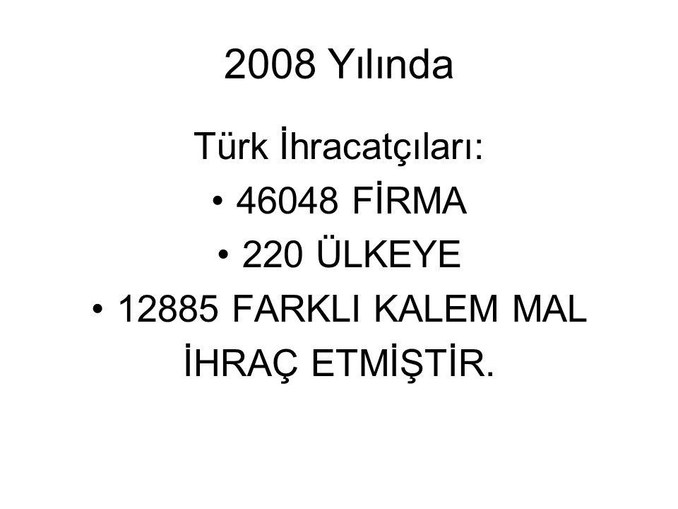 2008 Yılında Türk İhracatçıları: 46048 FİRMA 220 ÜLKEYE