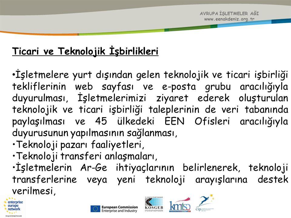 Ticari ve Teknolojik İşbirlikleri