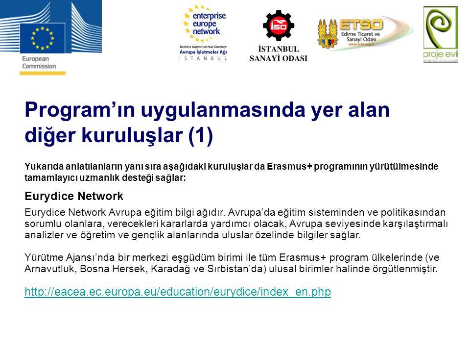 Program'ın uygulanmasında yer alan diğer kuruluşlar (1)