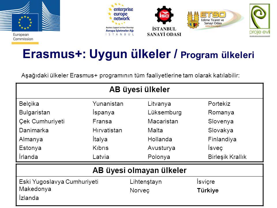 Erasmus+: Uygun ülkeler / Program ülkeleri AB üyesi olmayan ülkeler