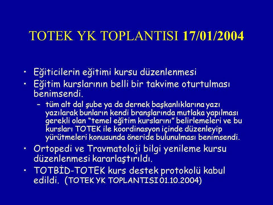 TOTEK YK TOPLANTISI 17/01/2004 Eğiticilerin eğitimi kursu düzenlenmesi