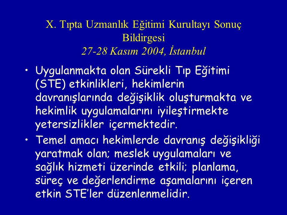 X. Tıpta Uzmanlık Eğitimi Kurultayı Sonuç Bildirgesi 27-28 Kasım 2004, İstanbul