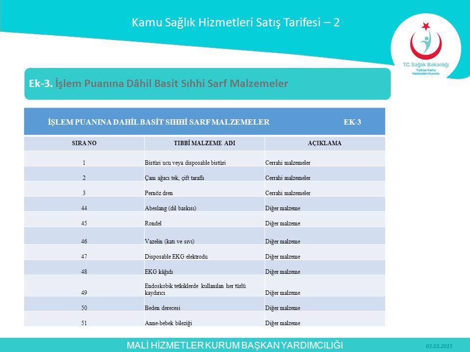 İŞLEM PUANINA DAHİL BASİT SIHHİ SARF MALZEMELER EK-3