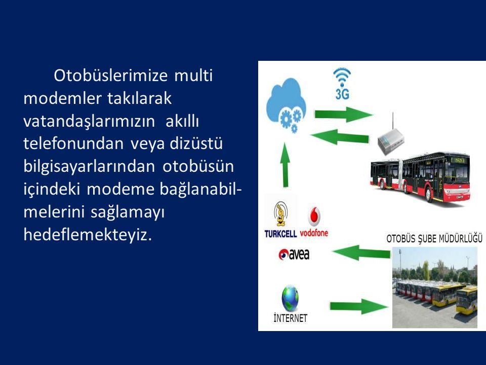 Otobüslerimize multi modemler takılarak vatandaşlarımızın akıllı telefonundan veya dizüstü bilgisayarlarından otobüsün içindeki modeme bağlanabil- melerini sağlamayı hedeflemekteyiz.