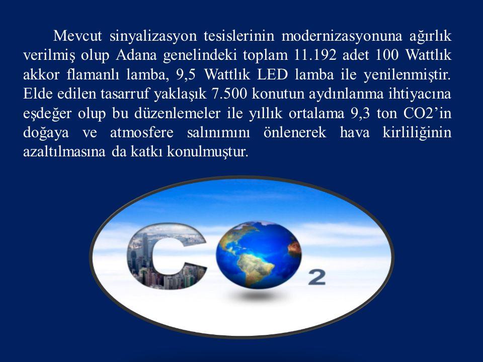 Mevcut sinyalizasyon tesislerinin modernizasyonuna ağırlık verilmiş olup Adana genelindeki toplam 11.192 adet 100 Wattlık akkor flamanlı lamba, 9,5 Wattlık LED lamba ile yenilenmiştir.