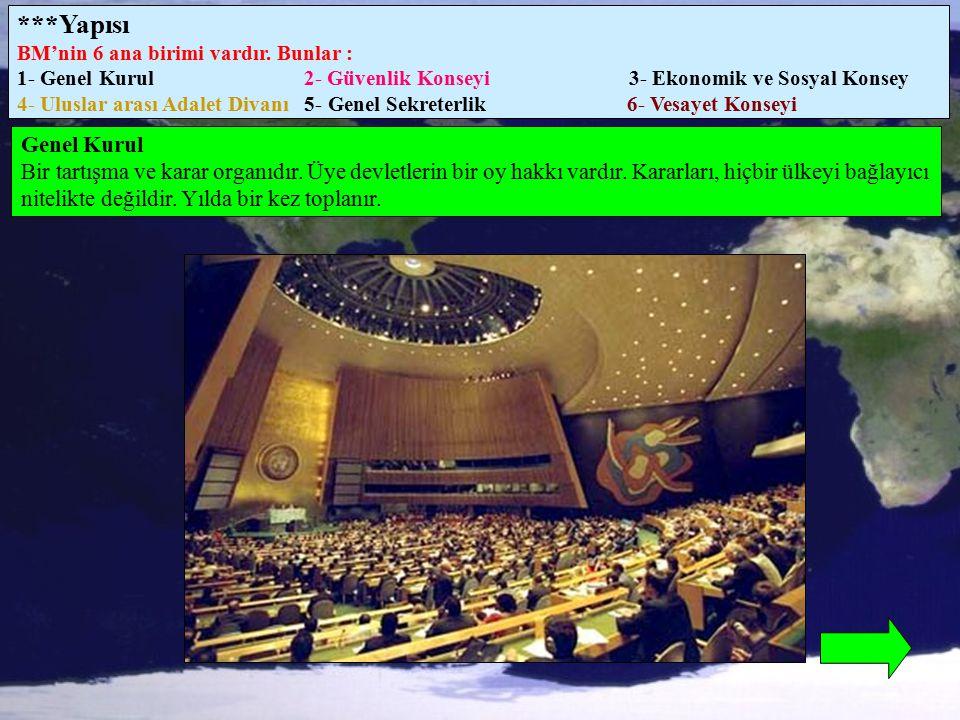 ***Yapısı BM'nin 6 ana birimi vardır. Bunlar :