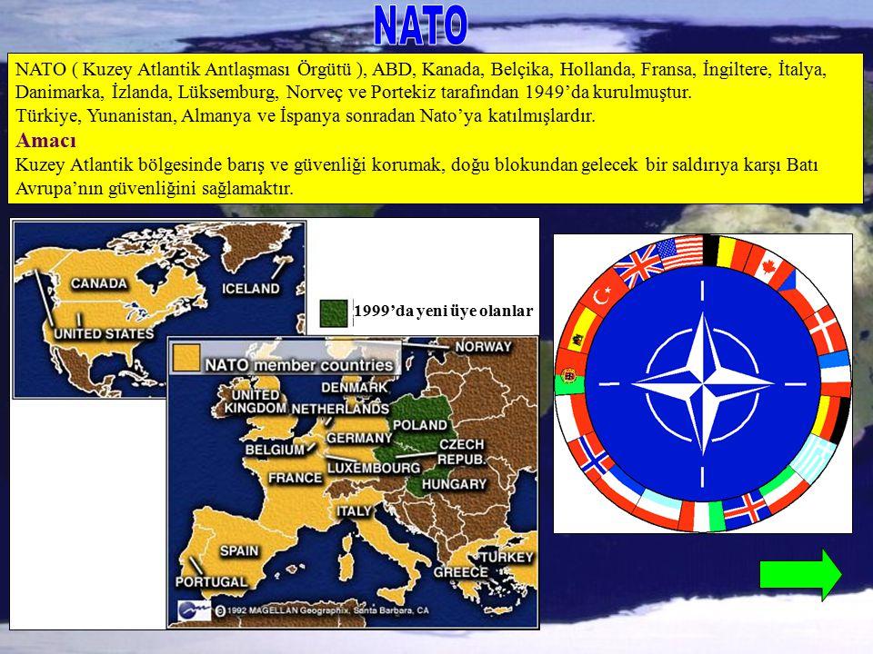 NATO NATO ( Kuzey Atlantik Antlaşması Örgütü ), ABD, Kanada, Belçika, Hollanda, Fransa, İngiltere, İtalya,