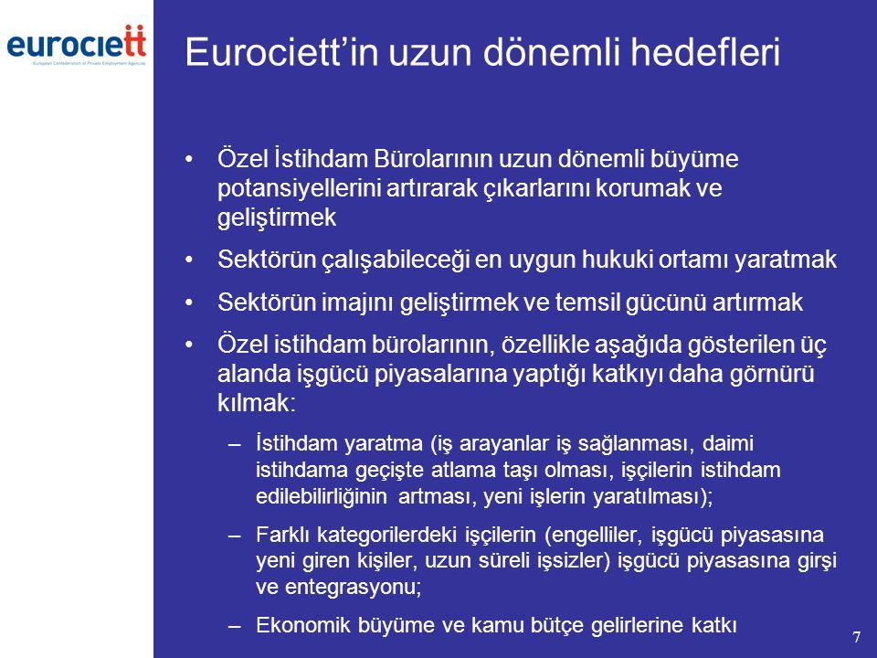 Eurociett'in uzun dönemli hedefleri