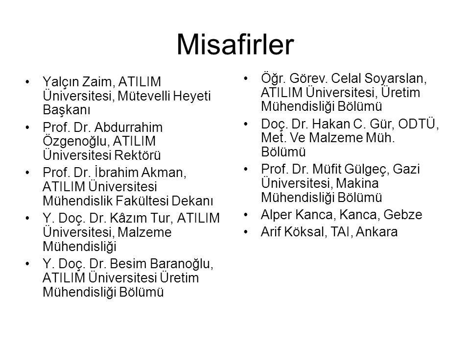 Misafirler Öğr. Görev. Celal Soyarslan, ATILIM Üniversitesi, Üretim Mühendisliği Bölümü. Doç. Dr. Hakan C. Gür, ODTÜ, Met. Ve Malzeme Müh. Bölümü.
