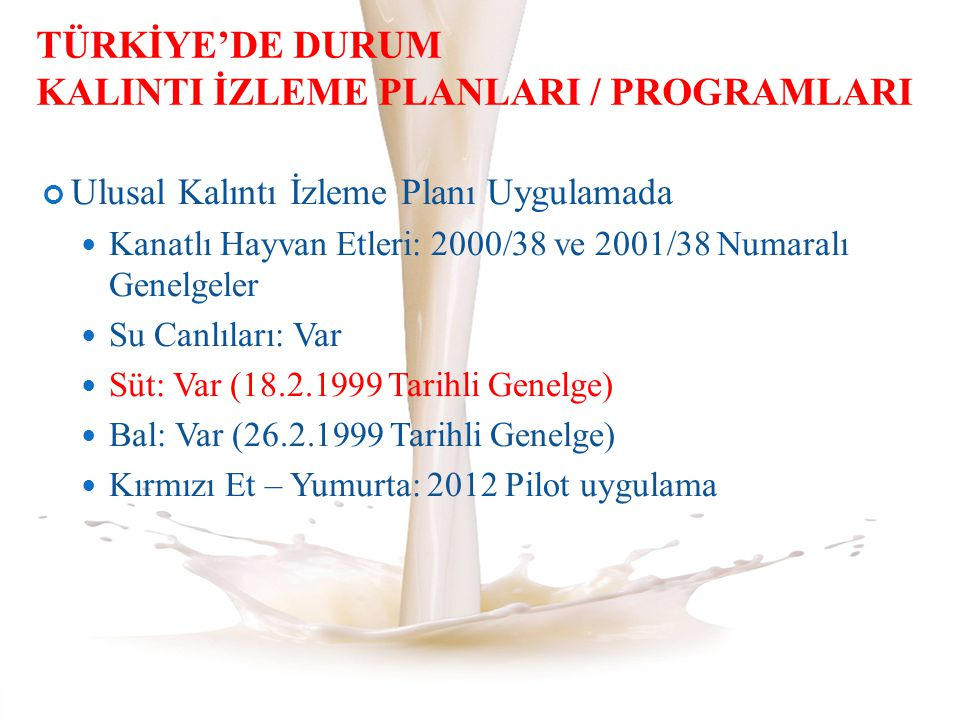 TÜRKİYE'DE DURUM KALINTI İZLEME PLANLARI / PROGRAMLARI
