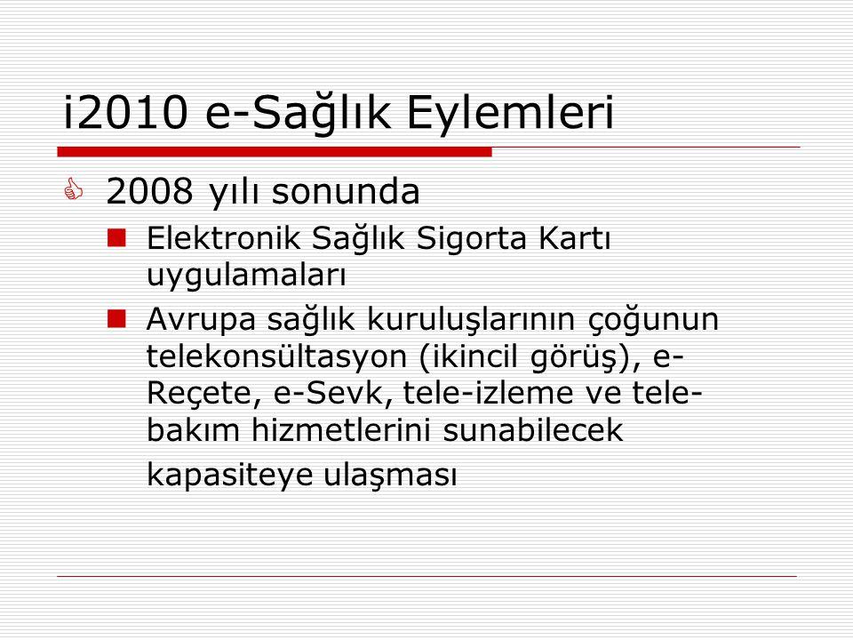 i2010 e-Sağlık Eylemleri 2008 yılı sonunda