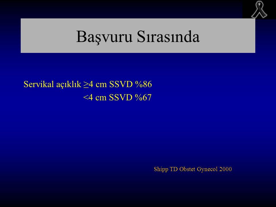 Başvuru Sırasında Servikal açıklık ≥4 cm SSVD %86 <4 cm SSVD %67