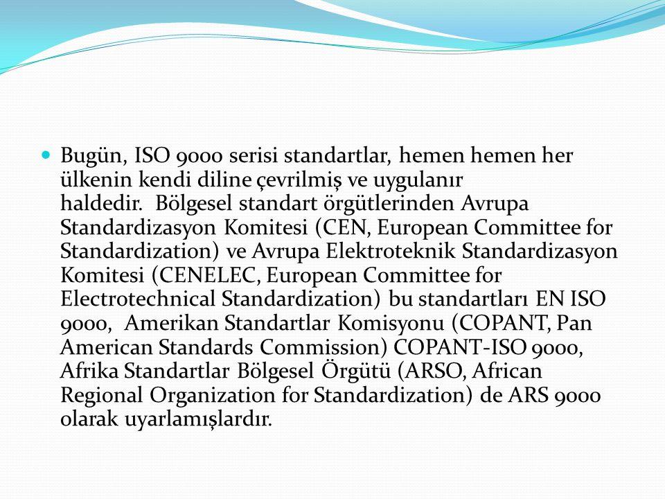 Bugün, ISO 9000 serisi standartlar, hemen hemen her ülkenin kendi diline çevrilmiş ve uygulanır haldedir. Bölgesel standart örgütlerinden Avrupa Standardizasyon Komitesi (CEN, European Committee for Standardization) ve Avrupa Elektroteknik Standardizasyon Komitesi (CENELEC, European Committee for Electrotechnical Standardization) bu standartları EN ISO 9000, Amerikan Standartlar Komisyonu (COPANT, Pan American Standards Commission) COPANT-ISO 9000, Afrika Standartlar Bölgesel Örgütü (ARSO, African Regional Organization for Standardization) de ARS 9000 olarak uyarlamışlardır.