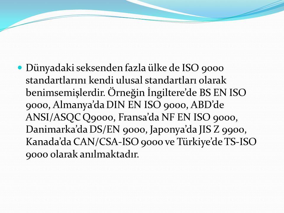 Dünyadaki seksenden fazla ülke de ISO 9000 standartlarını kendi ulusal standartları olarak benimsemişlerdir.