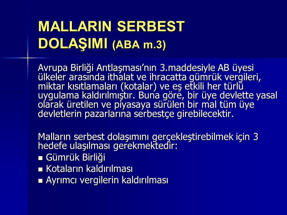 MALLARIN SERBEST DOLAŞIMI (ABA m.3)