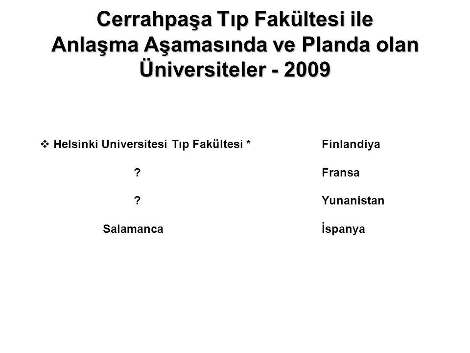 Cerrahpaşa Tıp Fakültesi ile Anlaşma Aşamasında ve Planda olan Üniversiteler - 2009