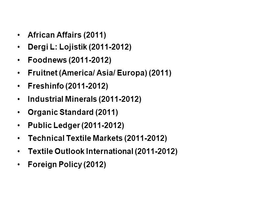 Kütüphane Hizmetleri African Affairs (2011)