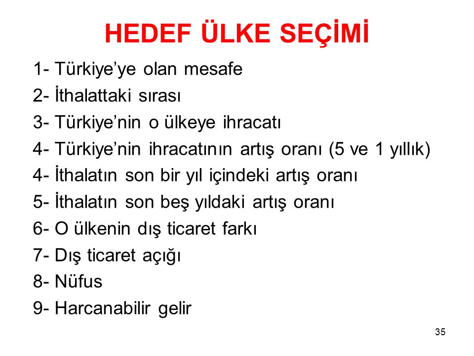 HEDEF ÜLKE SEÇİMİ