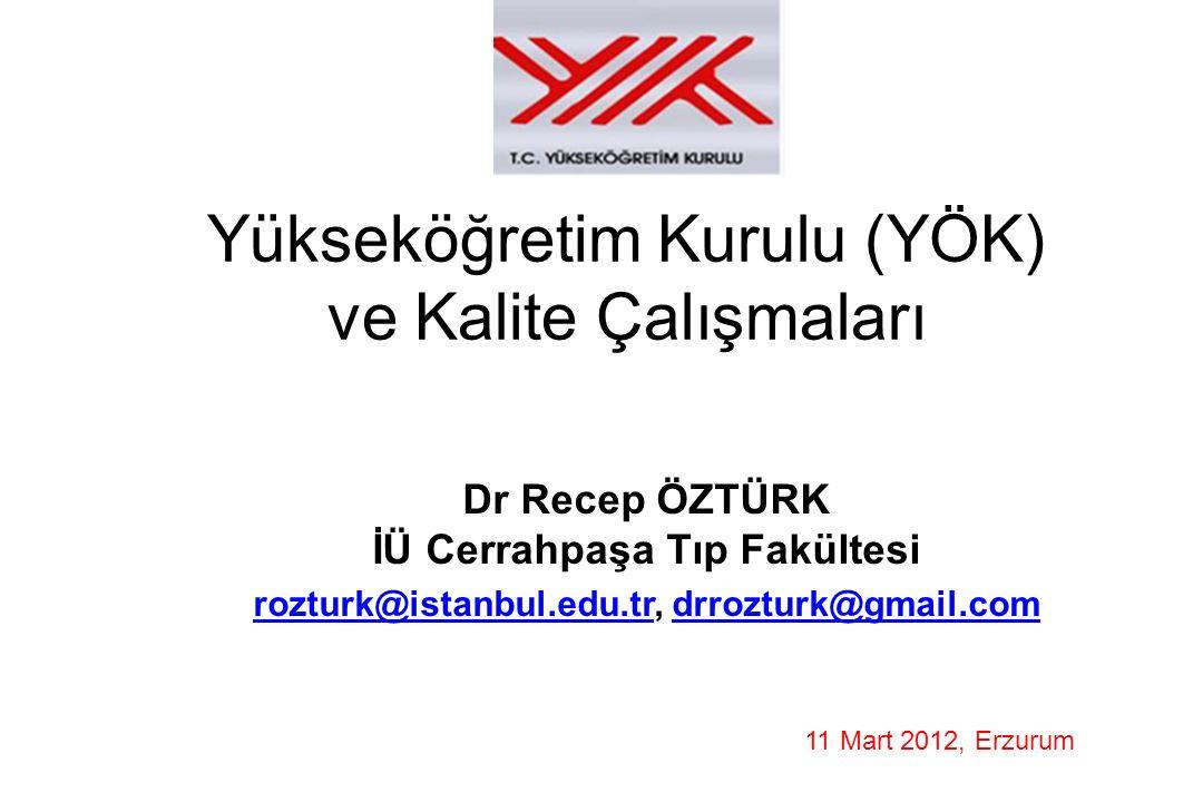 Yükseköğretim Kurulu (YÖK) ve Kalite Çalışmaları