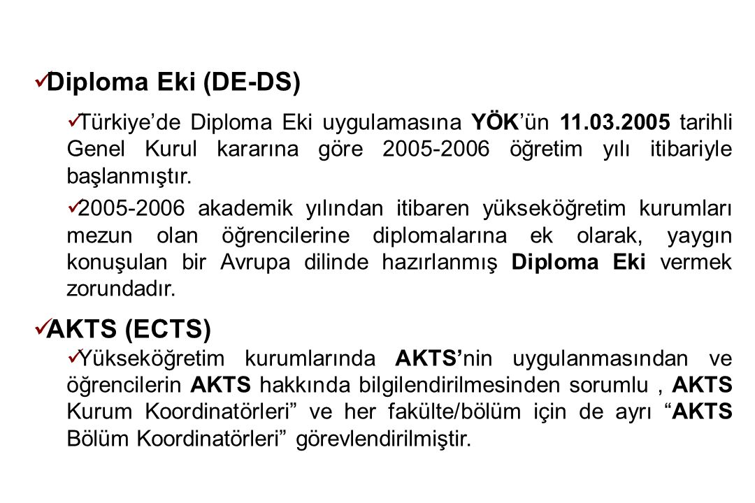 Diploma Eki (DE-DS) AKTS (ECTS)