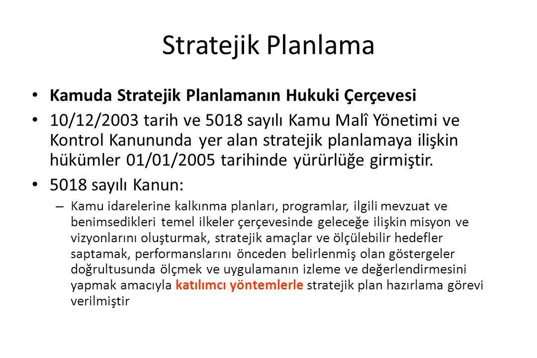Stratejik Planlama Kamuda Stratejik Planlamanın Hukuki Çerçevesi