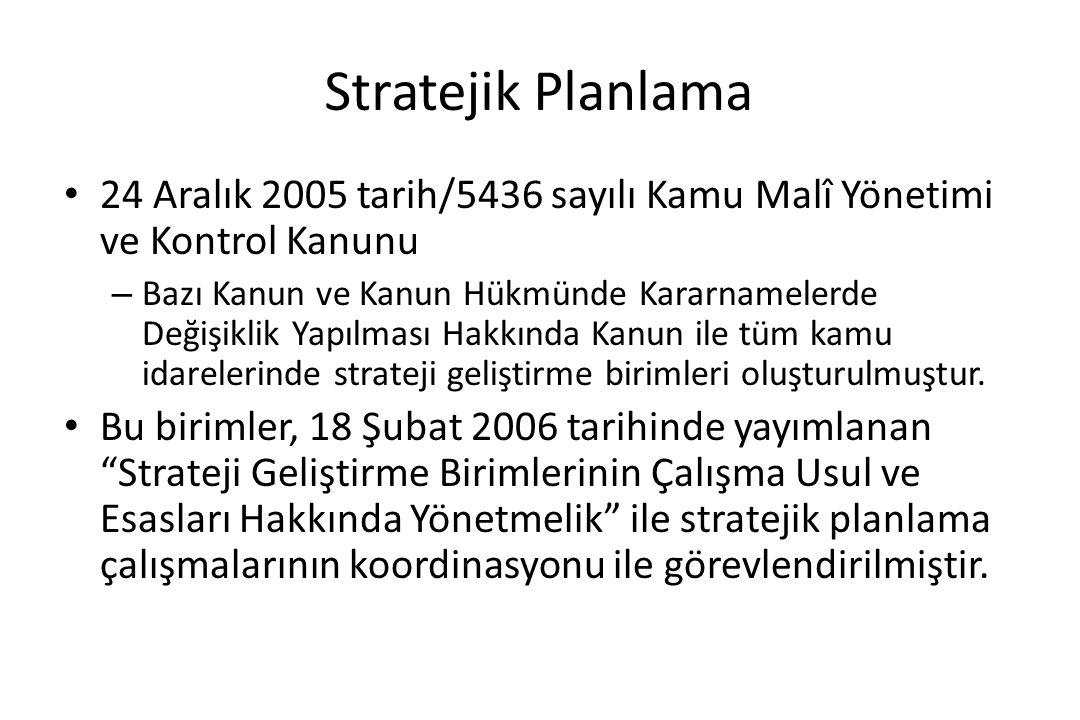 Stratejik Planlama 24 Aralık 2005 tarih/5436 sayılı Kamu Malî Yönetimi ve Kontrol Kanunu.