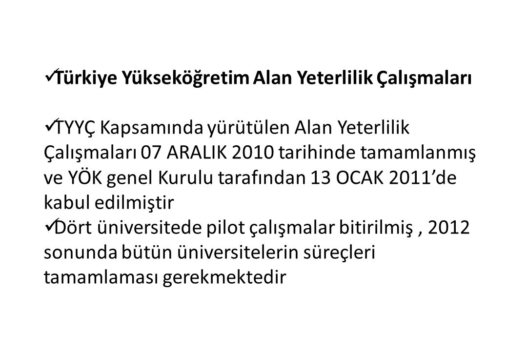 Türkiye Yükseköğretim Alan Yeterlilik Çalışmaları