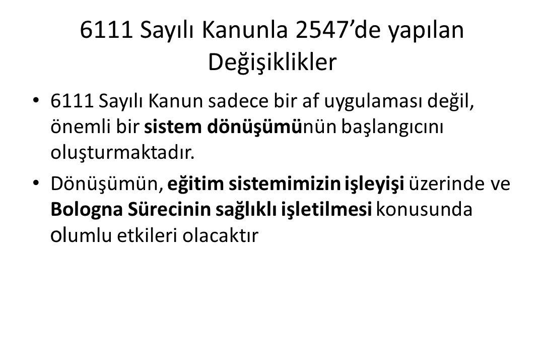 6111 Sayılı Kanunla 2547'de yapılan Değişiklikler