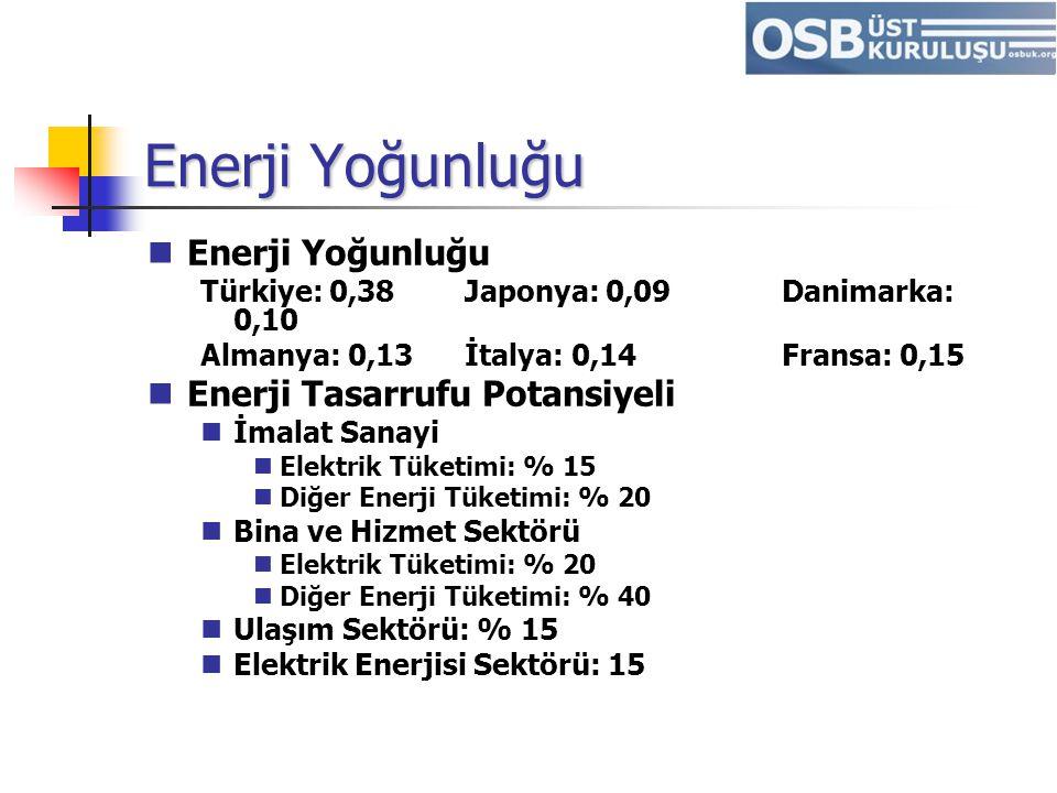 Enerji Yoğunluğu Enerji Yoğunluğu Enerji Tasarrufu Potansiyeli