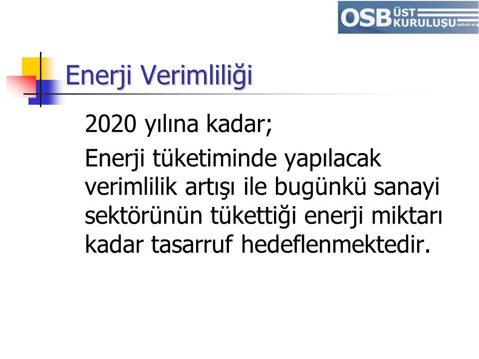 Enerji Verimliliği 2020 yılına kadar;