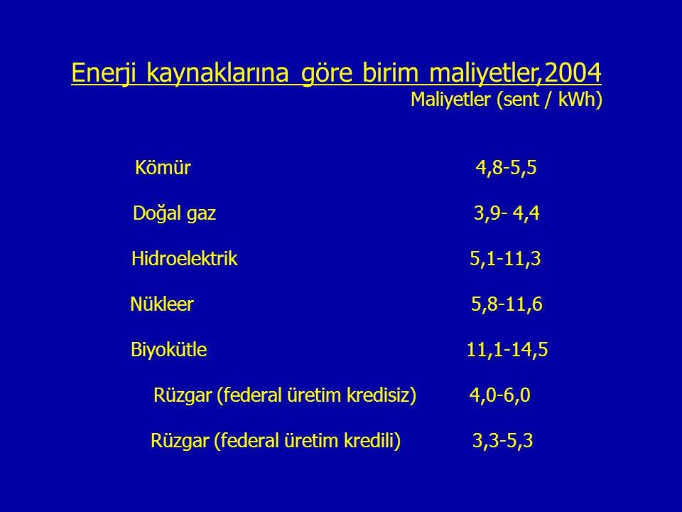 Enerji kaynaklarına göre birim maliyetler,2004