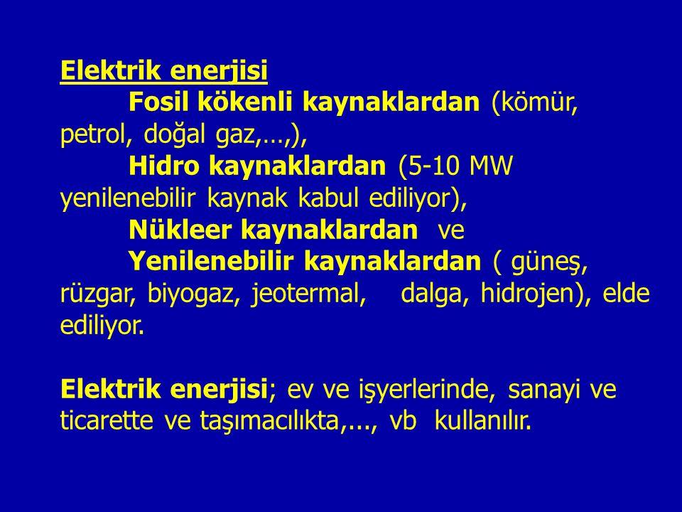 Elektrik enerjisi Fosil kökenli kaynaklardan (kömür, petrol, doğal gaz,…,), Hidro kaynaklardan (5-10 MW yenilenebilir kaynak kabul ediliyor),