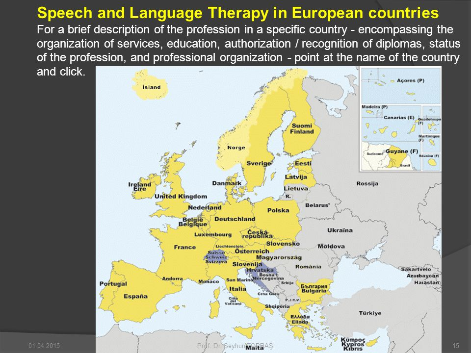 Speech and Language Therapy in European countries For a brief description of the profession in a specific country - encompassing the organization of services, education, authorization / recognition of diplomas, status of the profession, and professional organization - point at the name of the country and click.