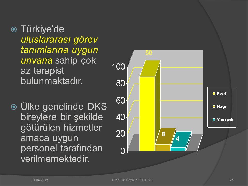 Türkiye'de uluslararası görev tanımlarına uygun unvana sahip çok az terapist bulunmaktadır.