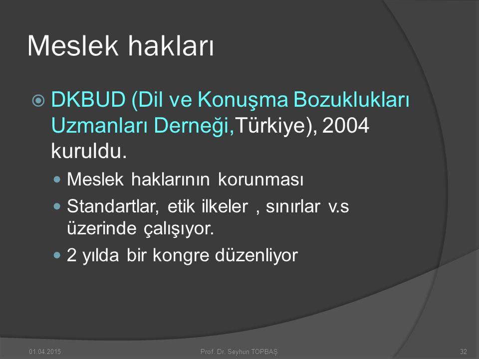 Meslek hakları DKBUD (Dil ve Konuşma Bozuklukları Uzmanları Derneği,Türkiye), 2004 kuruldu. Meslek haklarının korunması.