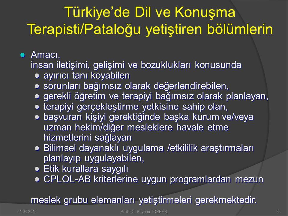 Türkiye'de Dil ve Konuşma Terapisti/Pataloğu yetiştiren bölümlerin