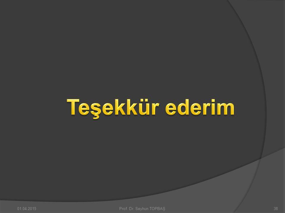 Teşekkür ederim 09.04.2017 Prof. Dr. Seyhun TOPBAŞ