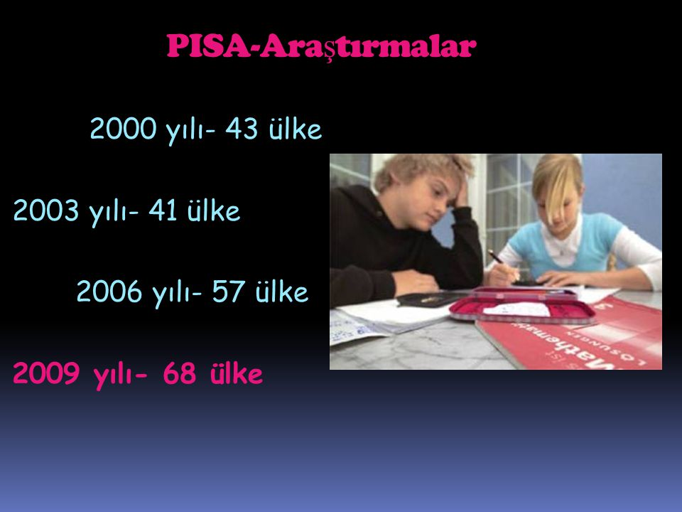PISA-Araştırmalar 2000 yılı- 43 ülke 2003 yılı- 41 ülke