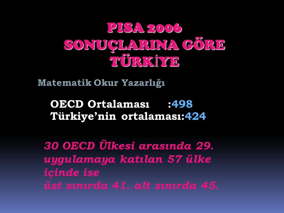 PISA 2006 SONUÇLARINA GÖRE TÜRKİYE OECD Ortalaması :498