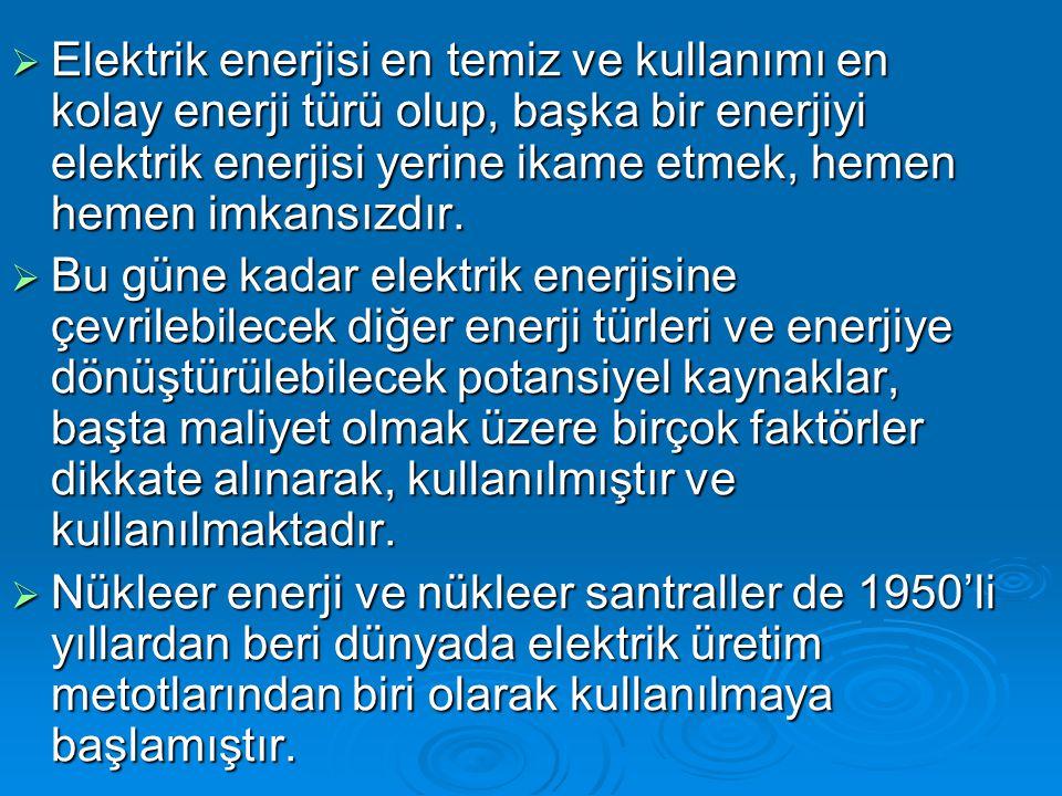 Elektrik enerjisi en temiz ve kullanımı en kolay enerji türü olup, başka bir enerjiyi elektrik enerjisi yerine ikame etmek, hemen hemen imkansızdır.