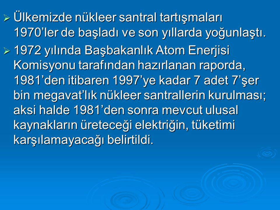 Ülkemizde nükleer santral tartışmaları 1970'ler de başladı ve son yıllarda yoğunlaştı.