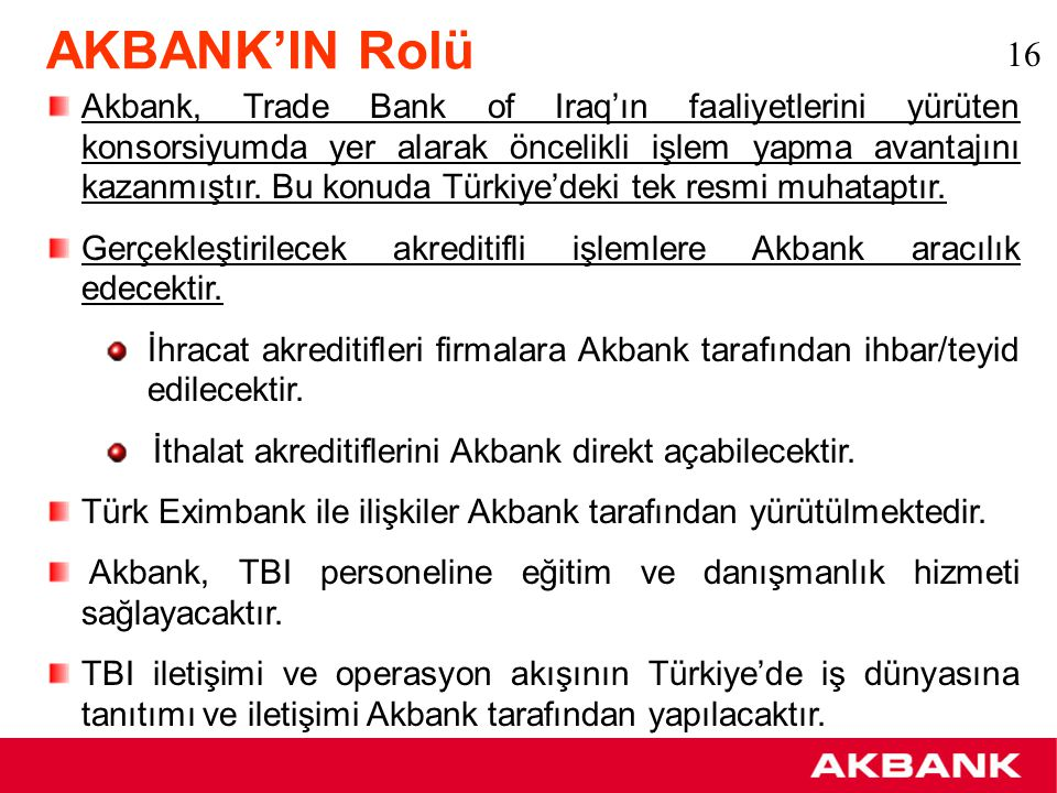 AKBANK'IN Rolü 16.