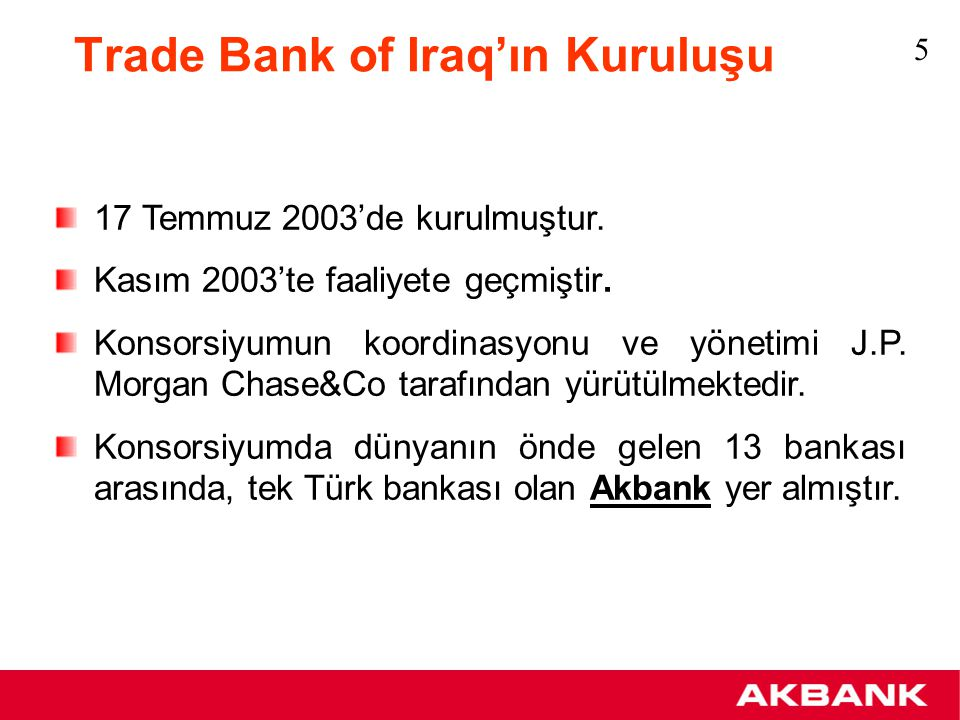 Trade Bank of Iraq'ın Kuruluşu