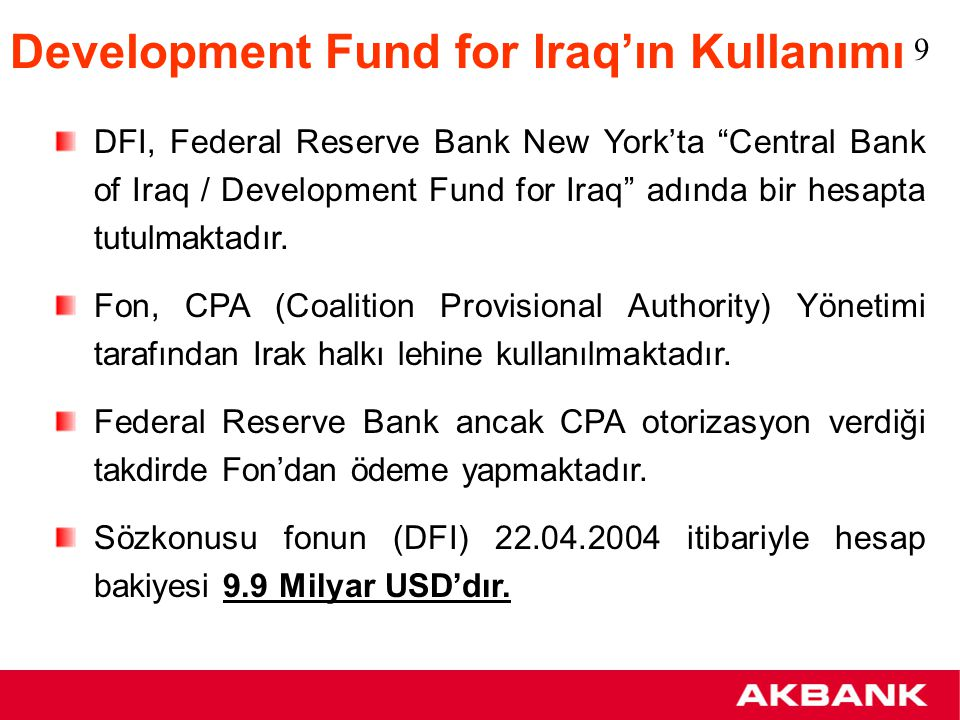 Development Fund for Iraq'ın Kullanımı
