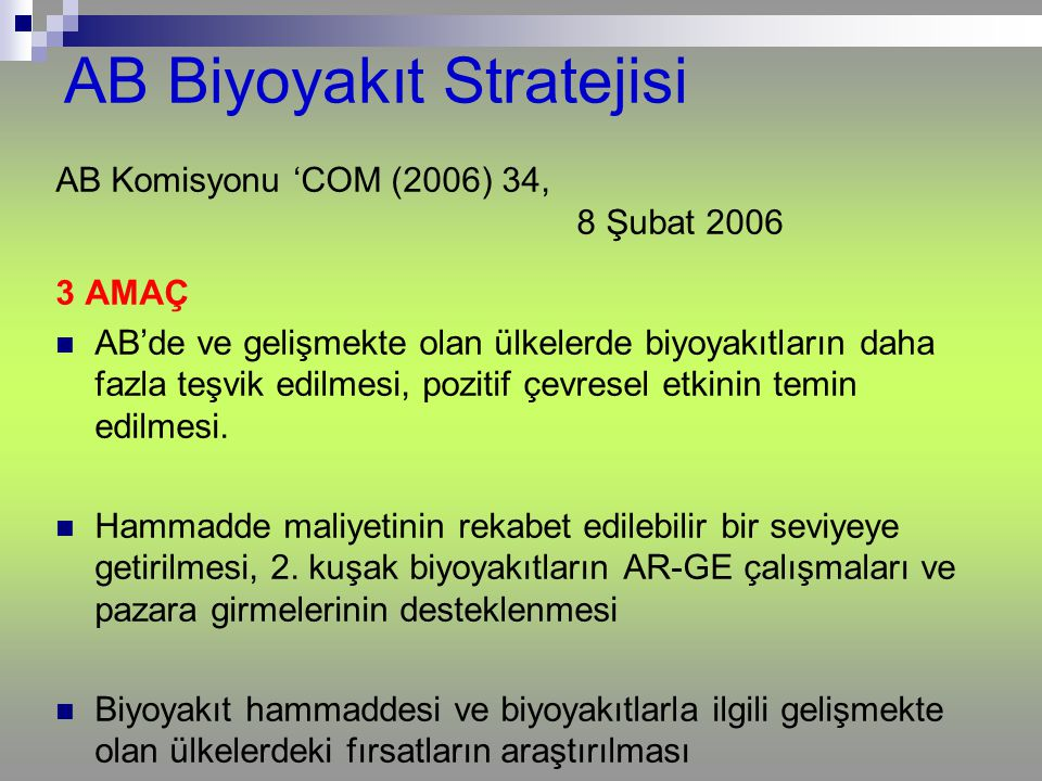 AB Biyoyakıt Stratejisi