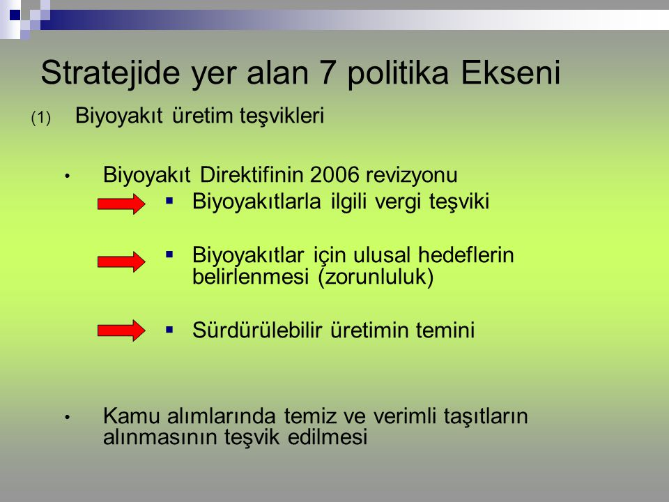 Stratejide yer alan 7 politika Ekseni