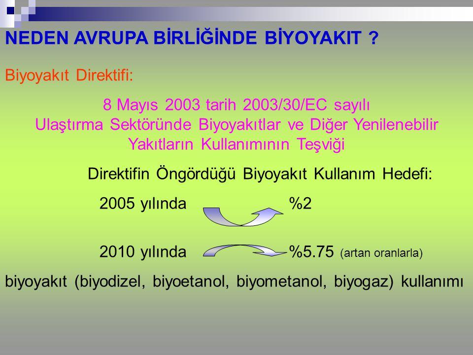 Direktifin Öngördüğü Biyoyakıt Kullanım Hedefi: