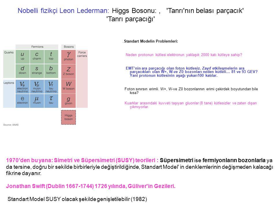 Nobelli fizikçi Leon Lederman: Higgs Bosonu: , Tanrı nın belası parçacık Tanrı parçacığı